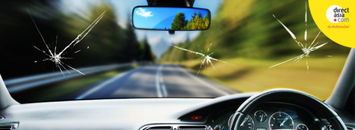 หินกระเด็นใส่กระจกรถเป็นรอยร้าว